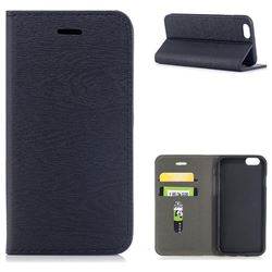 Tree Bark Pattern Automatic suction Leather Wallet Case for iPhone 6s 6 6G(4.7 inch) - Black