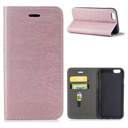 Tree Bark Pattern Automatic suction Leather Wallet Case for iPhone 6s 6 6G(4.7 inch) - Rose Gold