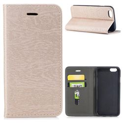 Tree Bark Pattern Automatic suction Leather Wallet Case for iPhone 6s 6 6G(4.7 inch) - Champagne Gold