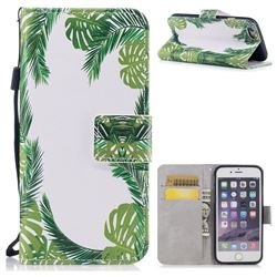 Green Leaves PU Leather Wallet Case for iPhone 6s 6 6G(4.7 inch)