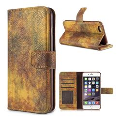 Luxury Retro Forest Series Leather Wallet Case for iPhone 6s 6 6G(4.7 inch) - Yellow