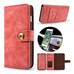 Luxury Vintage Split Separated Leather Wallet Case for iPhone 6s 6 6G(4.7 inch) - Carmine
