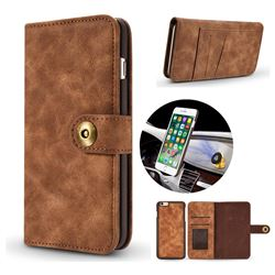 Luxury Vintage Split Separated Leather Wallet Case for iPhone 6s 6 6G(4.7 inch) - Brown
