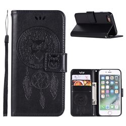 Intricate Embossing Owl Campanula Leather Wallet Case for iPhone 6s 6 6G(4.7 inch) - Black