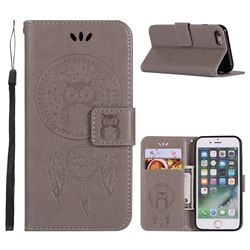 Intricate Embossing Owl Campanula Leather Wallet Case for iPhone 6s 6 6G(4.7 inch) - Grey
