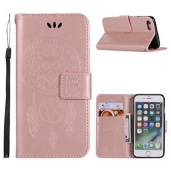 Intricate Embossing Owl Campanula Leather Wallet Case for iPhone 6s 6 6G(4.7 inch) - Rose Gold