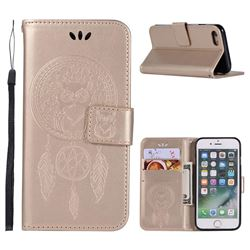 Intricate Embossing Owl Campanula Leather Wallet Case for iPhone 6s 6 6G(4.7 inch) - Champagne