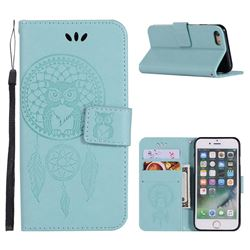 Intricate Embossing Owl Campanula Leather Wallet Case for iPhone 6s 6 6G(4.7 inch) - Green