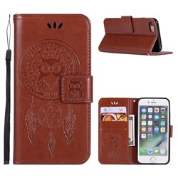 Intricate Embossing Owl Campanula Leather Wallet Case for iPhone 6s 6 6G(4.7 inch) - Brown
