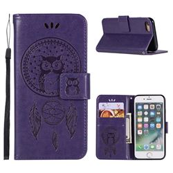 Intricate Embossing Owl Campanula Leather Wallet Case for iPhone 6s 6 6G(4.7 inch) - Purple