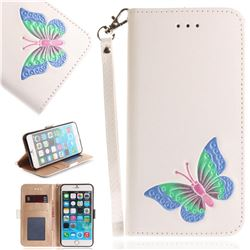 Imprint Embossing Butterfly Leather Wallet Case for iPhone 6s 6 6G(4.7 inch) - White