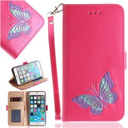 Imprint Embossing Butterfly Leather Wallet Case for iPhone 6s 6 6G(4.7 inch) - Rose Red