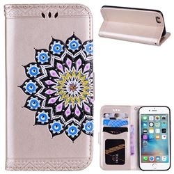 Datura Flowers Flash Powder Leather Wallet Holster Case for iPhone 6s 6 6G(4.7 inch) - Golden