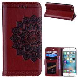 Datura Flowers Flash Powder Leather Wallet Holster Case for iPhone 6s 6 6G(4.7 inch) - Brown