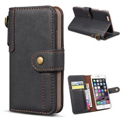 Retro Luxury Cowhide Leather Wallet Case for iPhone 6s 6 6G(4.7 inch) - Black