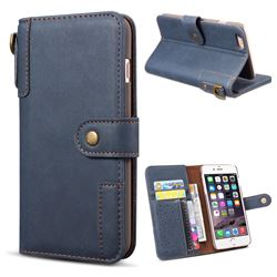 Retro Luxury Cowhide Leather Wallet Case for iPhone 6s 6 6G(4.7 inch) - Blue