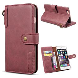Retro Luxury Cowhide Leather Wallet Case for iPhone 6s 6 6G(4.7 inch) - Wine Red
