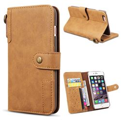 Retro Luxury Cowhide Leather Wallet Case for iPhone 6s 6 6G(4.7 inch) - Brown