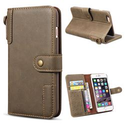 Retro Luxury Cowhide Leather Wallet Case for iPhone 6s 6 6G(4.7 inch) - Coffee