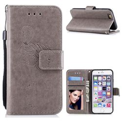 Intricate Embossing Flamingos Leather Wallet Case Gray