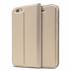 Ultra Slim Card Magnetic Automatic Suction Leather Wallet Case for iPhone 6s 6 6G(4.7 inch) - Champagne