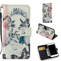 Girl and Butterfly 3D Painted Leather Wallet Case