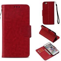 Retro Phantom Smooth PU Leather Wallet Holster Case for iPhone 6s 6 6G(4.7 inch) - Red