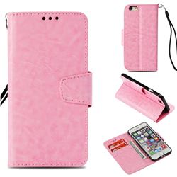 Retro Phantom Smooth PU Leather Wallet Holster Case for iPhone 6s 6 6G(4.7 inch) - Pink