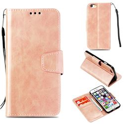 Retro Phantom Smooth PU Leather Wallet Holster Case for iPhone 6s 6 6G(4.7 inch) - Rose Gold
