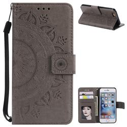 Intricate Embossing Datura Leather Wallet Case for iPhone 6s 6 6G(4.7 inch) - Gray