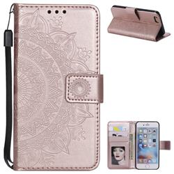 Intricate Embossing Datura Leather Wallet Case for iPhone 6s 6 6G(4.7 inch) - Rose Gold