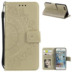 Intricate Embossing Datura Leather Wallet Case for iPhone 6s 6 6G(4.7 inch) - Golden