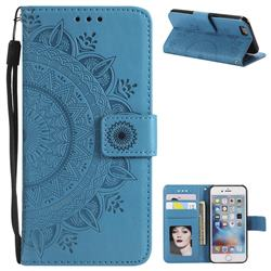 Intricate Embossing Datura Leather Wallet Case for iPhone 6s 6 6G(4.7 inch) - Blue