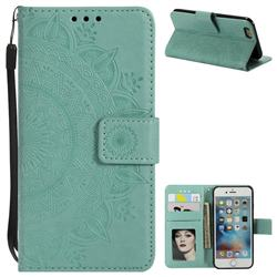 Intricate Embossing Datura Leather Wallet Case for iPhone 6s 6 6G(4.7 inch) - Mint Green
