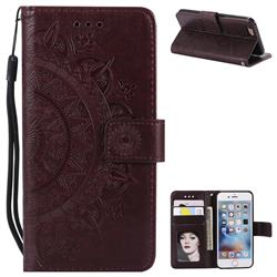 Intricate Embossing Datura Leather Wallet Case for iPhone 6s 6 6G(4.7 inch) - Brown
