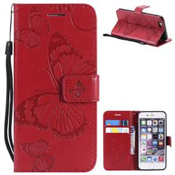 Embossing 3D Butterfly Leather Wallet Case for iPhone 6s 6 6G(4.7 inch) - Red