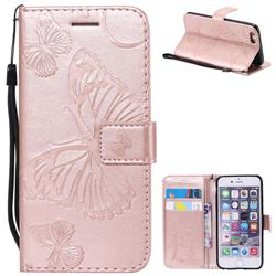 Embossing 3D Butterfly Leather Wallet Case for iPhone 6s 6 6G(4.7 inch) - Rose Gold