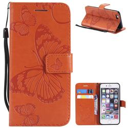 Embossing 3D Butterfly Leather Wallet Case for iPhone 6s 6 6G(4.7 inch) - Orange