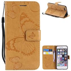 Embossing 3D Butterfly Leather Wallet Case for iPhone 6s 6 6G(4.7 inch) - Yellow