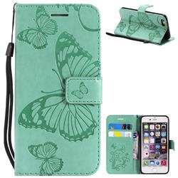 Embossing 3D Butterfly Leather Wallet Case for iPhone 6s 6 6G(4.7 inch) - Green