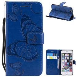 Embossing 3D Butterfly Leather Wallet Case for iPhone 6s 6 6G(4.7 inch) - Blue
