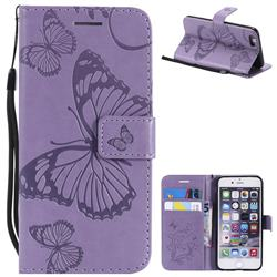 Embossing 3D Butterfly Leather Wallet Case for iPhone 6s 6 6G(4.7 inch) - Purple