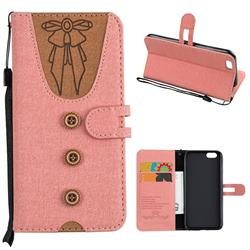 Ladies Bow Clothes Pattern Leather Wallet Phone Case for iPhone 6s 6 6G(4.7 inch) - Pink