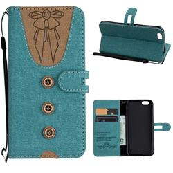 Ladies Bow Clothes Pattern Leather Wallet Phone Case for iPhone 6s 6 6G(4.7 inch) - Green