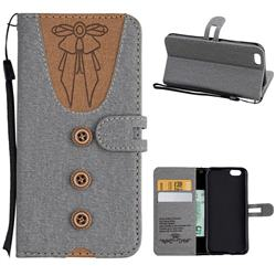 Ladies Bow Clothes Pattern Leather Wallet Phone Case for iPhone 6s 6 6G(4.7 inch) - Gray
