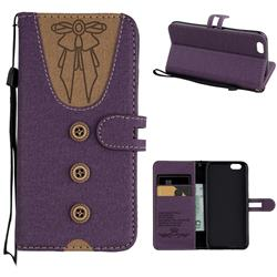 Ladies Bow Clothes Pattern Leather Wallet Phone Case for iPhone 6s 6 6G(4.7 inch) - Purple