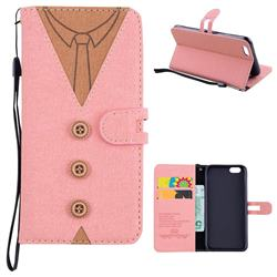 Mens Button Clothing Style Leather Wallet Phone Case for iPhone 6s 6 6G(4.7 inch) - Pink