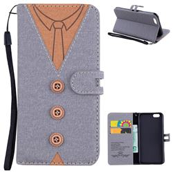 Mens Button Clothing Style Leather Wallet Phone Case for iPhone 6s 6 6G(4.7 inch) - Gray
