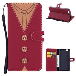 Mens Button Clothing Style Leather Wallet Phone Case for iPhone 6s 6 6G(4.7 inch) - Red