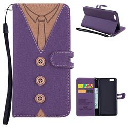 Mens Button Clothing Style Leather Wallet Phone Case for iPhone 6s 6 6G(4.7 inch) - Purple